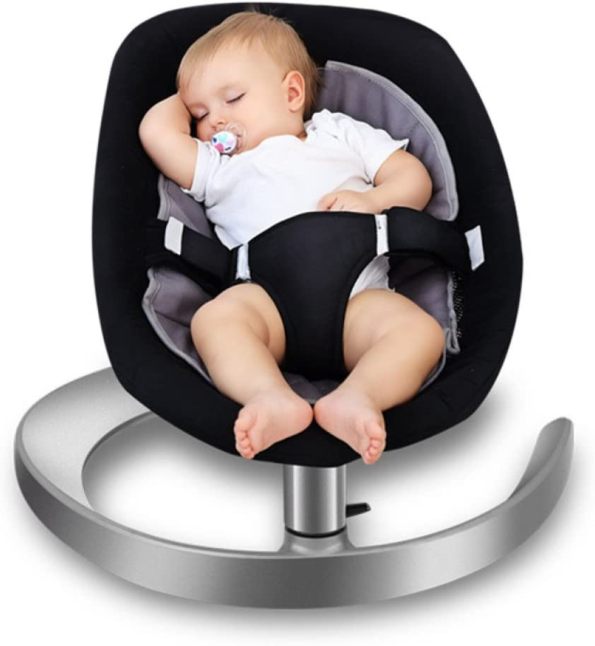 LZTET Balance Bouncer Swings Chair Bouncers Cradle Chair Baby Rocking Chair Recliner Chair Lazy Newborn Children Non-electric Baby Newborn Cradle Seat,Black