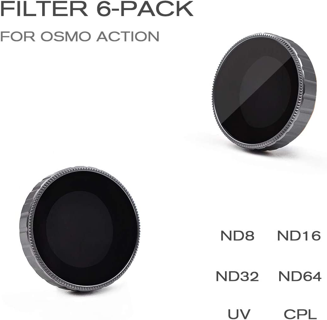 4 Pack ND8 CPL,MCUV Camera Lens Filters Compatible with DJI Osmo Action Camera ND16 ND64 ND36 CINEPIECE Camera Lens ND Filters Set
