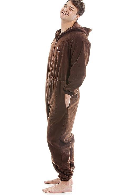 Pijama de una pieza para hombre - Forro polar suave - Con capucha y cremallera frontal - Marrón: Amazon.es: Ropa y accesorios