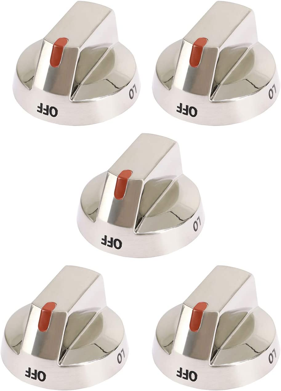 ATMA DG64-00473A Top Burner Control Dial Knob Replacement Stainless Steel Fit for Samsung Range Oven Gas Stove Knob NX58F5700WS NX58H5600SS NX58H5650WS NX58J7750SS - Pack of 5