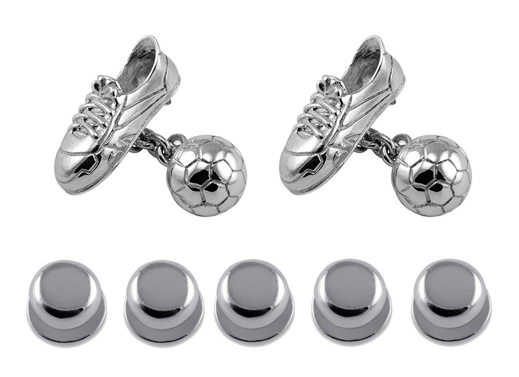Sterling Silver Football & Boot Cufflinks with Chain Link Shirt Dress Studs Gift Set