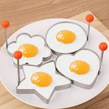 Keraiz - Moldes para freír huevos de acero inoxidable (4 unidades): Amazon.es: Hogar