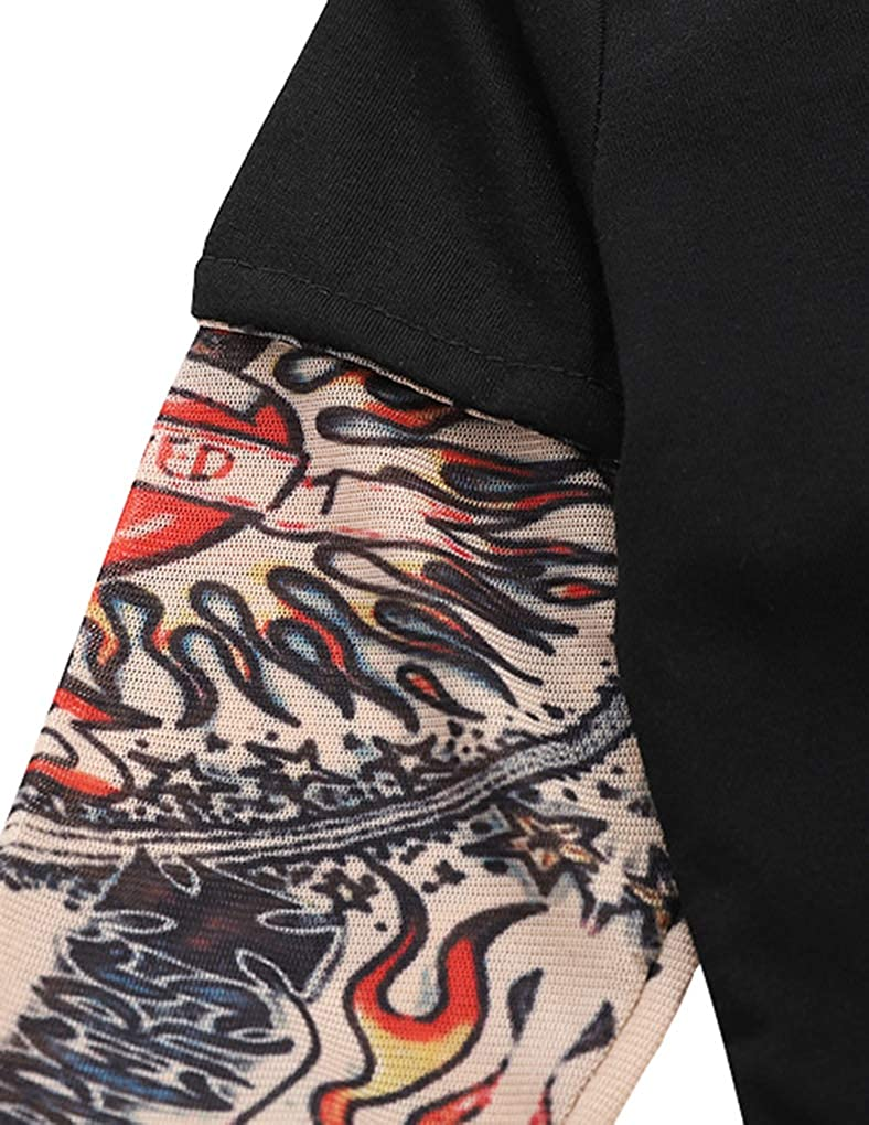 DPSKY Infant Toddler Baby Boys Girls Tattoo Printed Long Sleeve Romper Bodysuit Jumpsuit Costume