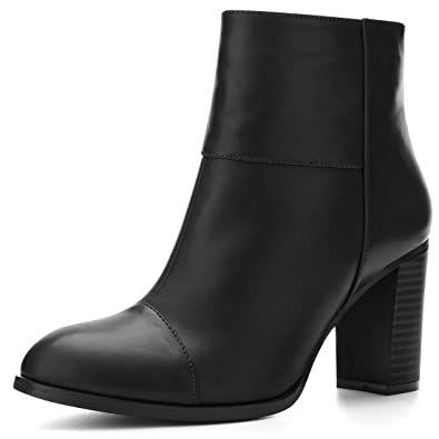 Women's Round Toe Stacked Block Heel Zipper Booties