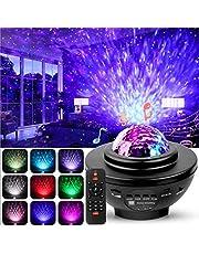 Swonuk projektor LED z motywem gwiaździstego nieba, obracany o 360°, z pilotem zdalnego sterowania, głośnikiem Bluetooth, 3 poziomy jasności, do pokoju dziecięcego, na imprezy, jako prezent
