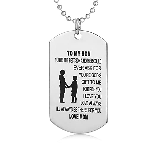 Dog Tags for Son From Mom Boys Necklaces for Kids Air Force Pendants Military Stainless Chains Love Gift