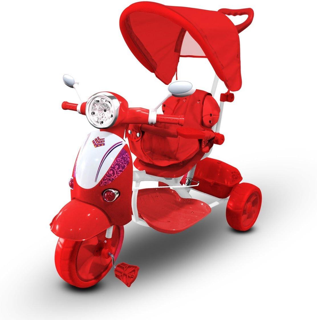 MWS LT 854 Triciclo con Pedales para bebés con3 Canciones integradas en Capota (Rojo)