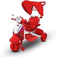 Mediawave Store Triciclo a Spinta con Pedali LT854 per Bambini Special con cappottina (Rosso)