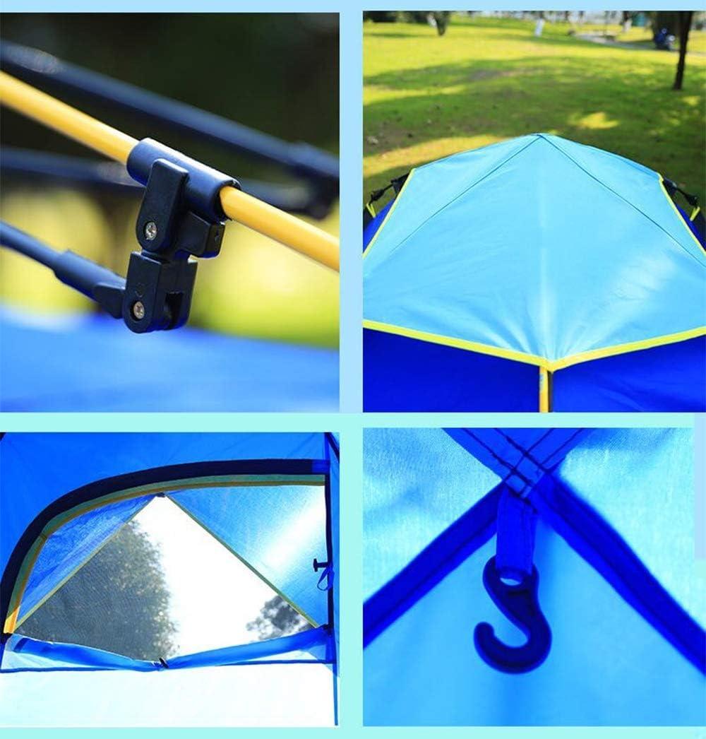 Tente de camping 3-4 personnes à une seule couche épaissie tente, support à ressort de produits de plein air bleu
