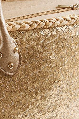 tout Fourre Rose large varioues été femmes Sequins Dorés toile Shopping Sac plage Styles pour 0w80WSq1