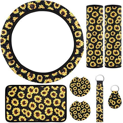 8 Pieces Sunflower Car Accessories Set Universal, Includes Sunflower Steering Wheel Cover, Center Console Armrest Pad, Sunflowers Keyrings, Seat Belt Covers, Car Cup Holder Coaster