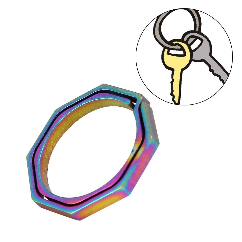 Titanium Alloy EDC Quickdraw Key Chain Octagonal Hanging Buckle Keyring VGEBY