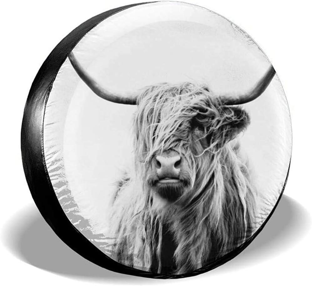 Cubierta del neum/ático del coche Retrato de una rueda de vaca Highland Cubierta del neum/ático Cubierta del neum/ático resistente a la suciedad Cubierta del neum/ático de repuesto impermeable 15 pulgadas
