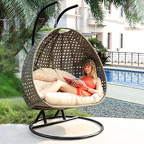 Cushioned Loveseat - Deluxe Swing Chair Outdoor Furniture PE Rattan Wicker Hanging Hammock with Stand, Cushioned Loveseat Chaise Lounger, Perfect for Patio, Garden, Porch, Backyard, House, Indoor Decor (LATTE)