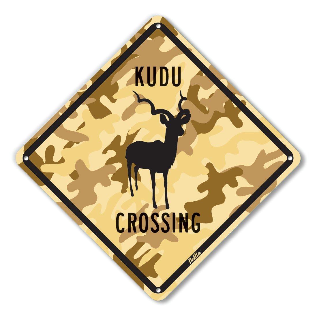 Black on Desert Camo PetKa Signs and Graphics PKAC-0053-NA/_10x10Kudu Crossing Aluminum Sign 10 x 10