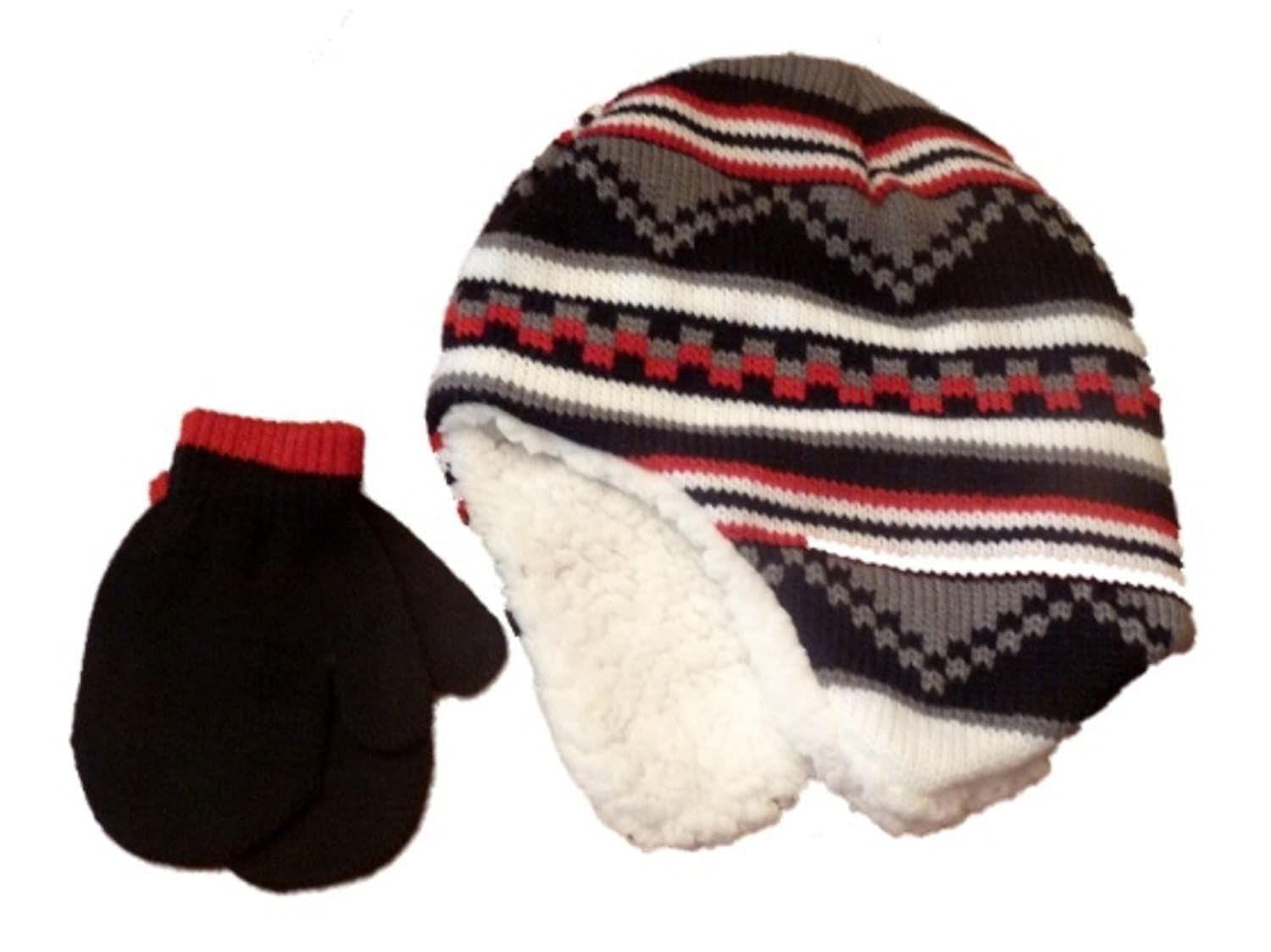 hot Faded Glory Toddler Boys Striped Red & Black Trapper Hat & Mittens Beanie Set free shipping