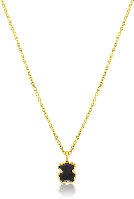 TOUS Collar con colgante Mujer en plata vermeil con ónix, Oso: 0,9 cm, Largo 45 cm