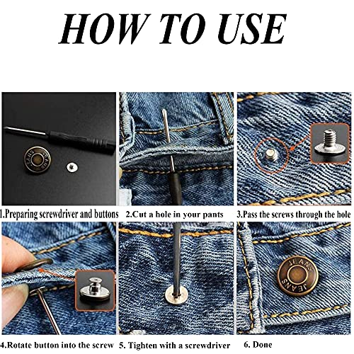 AXEN 12PCS Jeans Buttons Replacement, Perfect Fit Instant Adjustable Pants Button, No-sew Nailess Metal Buttons with Screwdrivers