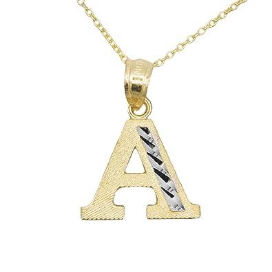 029e63492398 10 K de dos tonos amarillo y oro blanco letra A nombre inicial colgante  collar  Amazon.es  Joyería