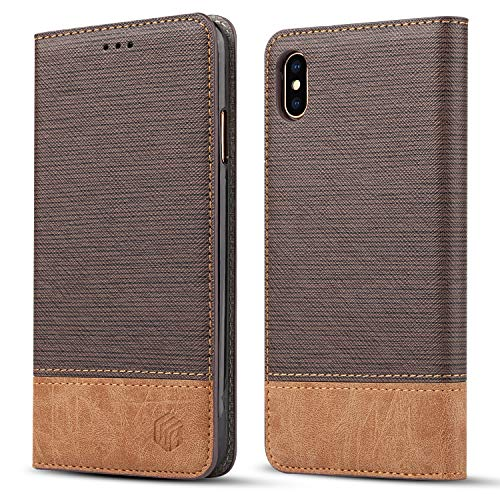 (for iPhone Xs Max Wallet Case,WenBelle Blazers Series,Stand Feature,Double Layer Shock Absorbing Premium Soft PU Color Matching Leather Cover Flip Cases for Apple iPhone Xs Max 6.5 inch (Brown))
