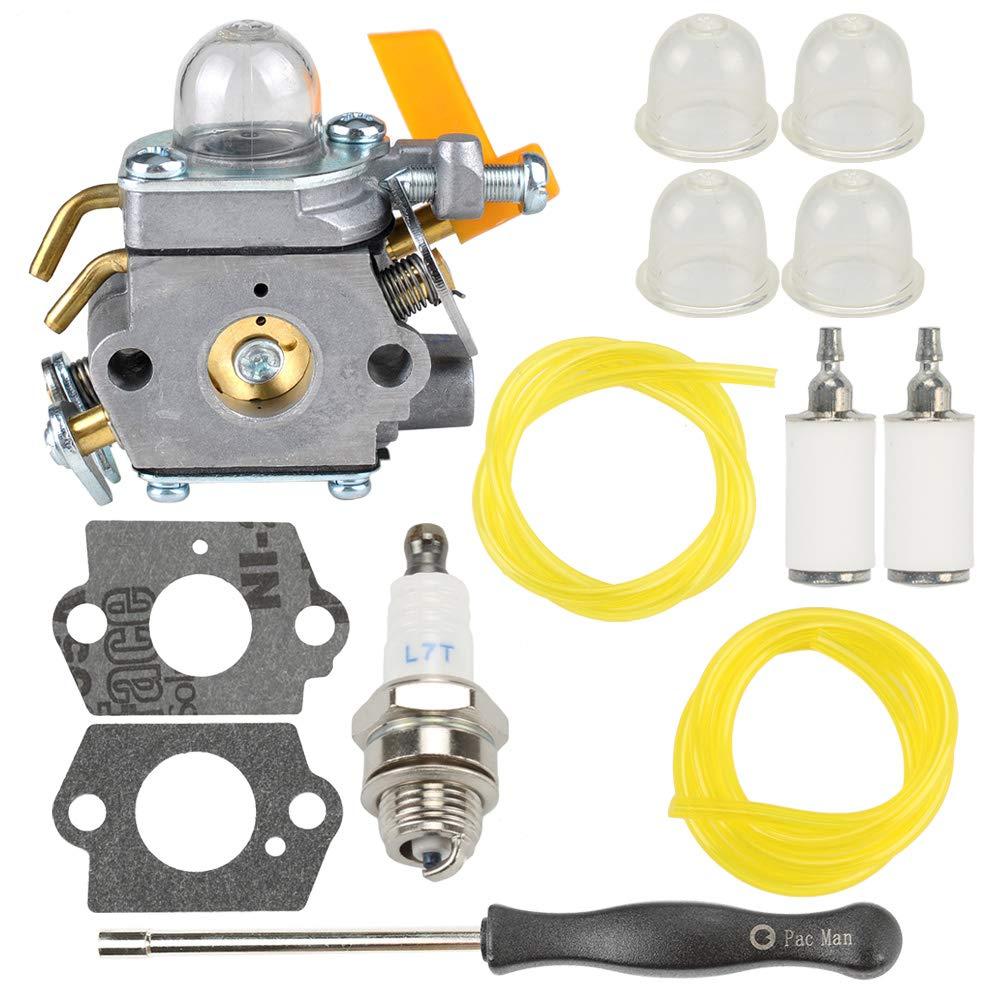 308054013 Carburetor with Fuel Line Filter Spark Plug for Ryobi Homelite 308054012 308054004 308054008 25cc 26cc 30cc String Trimmer Leaf Blower, C1U-H60 Fuel Line Primer Bulb Adjusting Tool Kit