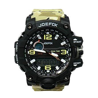 Joefox Reloj De Pulsera Digital para Hombre, Analógico Deportivo Militar, Cronógrafo Digital, Correa De Resina Led Resistente Al Agua 50 MT (Color: Militar ...