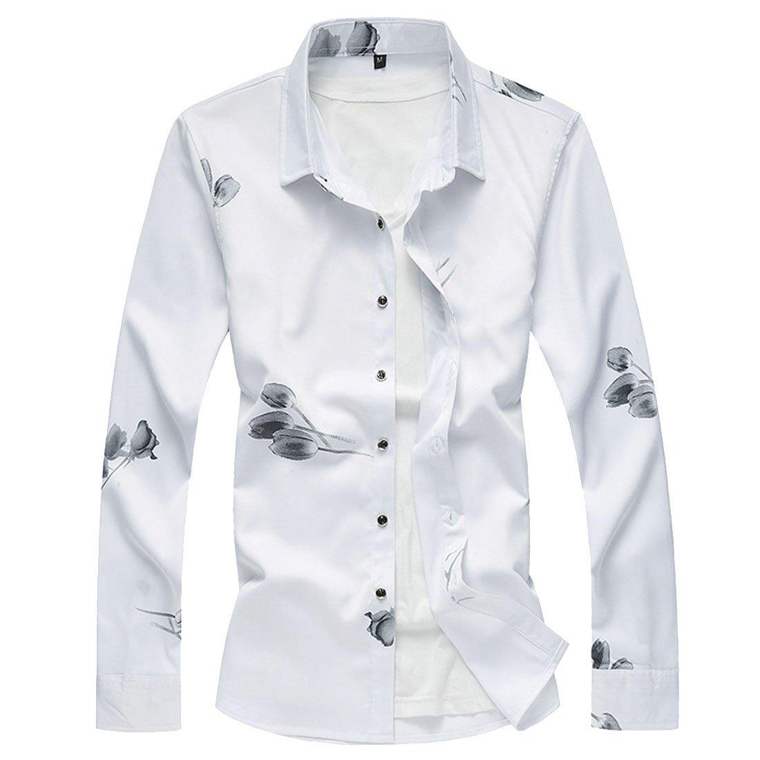 Fubotevic Mens Formal Button Down Lapel Plus Size Floral Fashion Dress Shirts