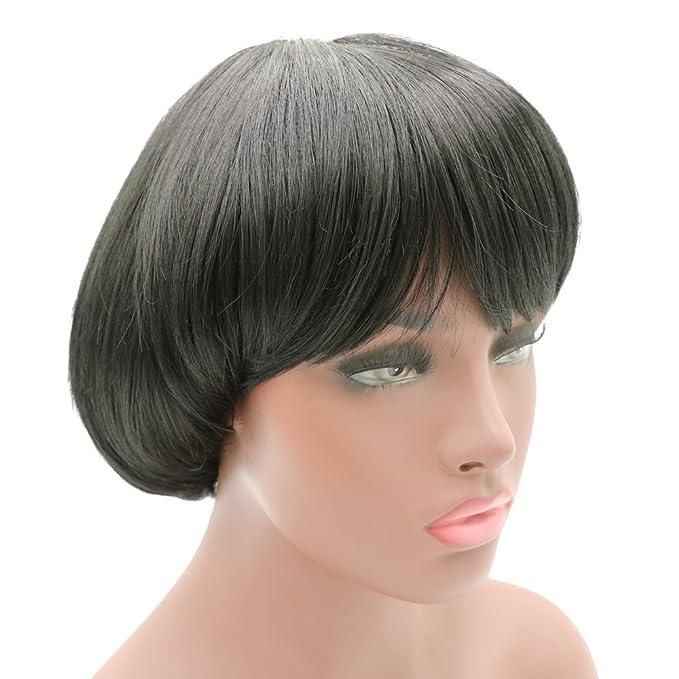 Amazon.com: Afro Girls Cosplay Mushroom Wig Short Haircut with Bangs ...