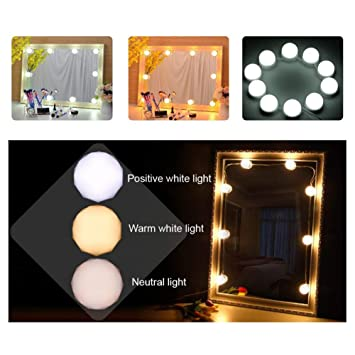 Leoie Led Makeup Mirror Light Kit With Dimmable Light Bulb White Warm White Natural White