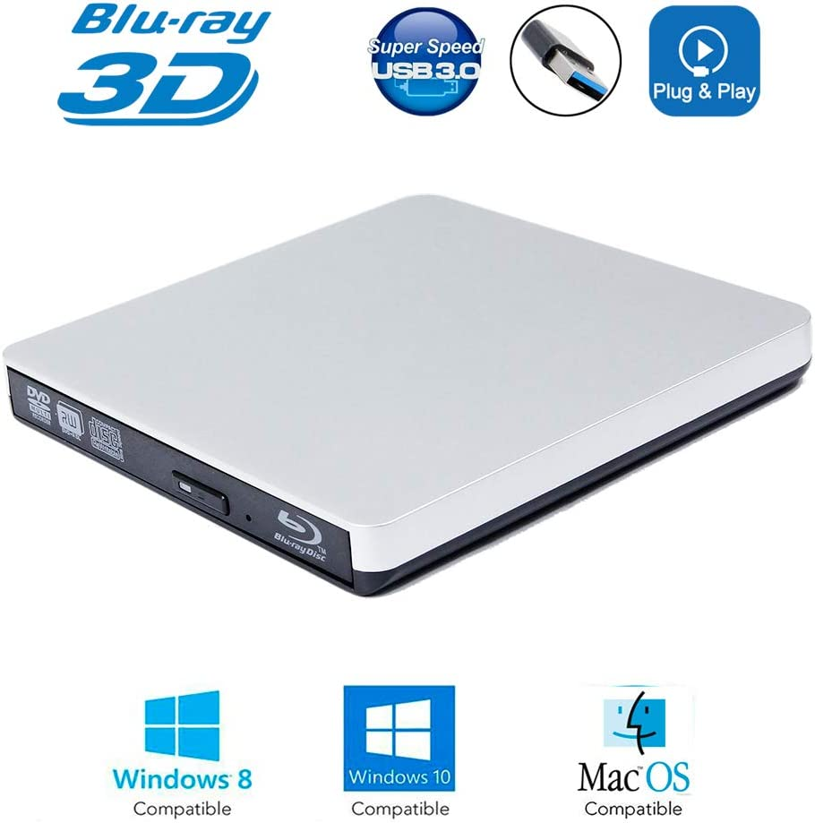 USB 3.0 External 6X Blu-Ray Burner 3D Blue-ray Portable DVD Player, for Laptops and Desktops Computer with Windows 7/8/ 10, Mac OS, Double Layer BD-RE DL 8X DVD+-R/RW Writer Optical Drive Silver