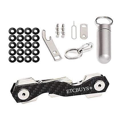 Llavero compacto – organizador llavero fibra de carbono y acero inoxidable con capacidad 18 llaves con multiherramienta de utilidad – (paquete de 2)