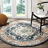 Safavieh Monaco Collection MNC243N Vintage Bohemian Navy and Light Blue Distressed Round Area Rug (6'7″ in Diameter)