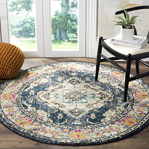 "Safavieh Monaco Collection MNC243N Vintage Bohemian Navy and Light Blue Distressed Round Area Rug (6'7"" in Diameter)"