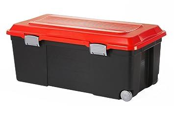 Sundis 7682024 Camper Coffre de Rangement Plastique Noir/Rouge 75 L ...