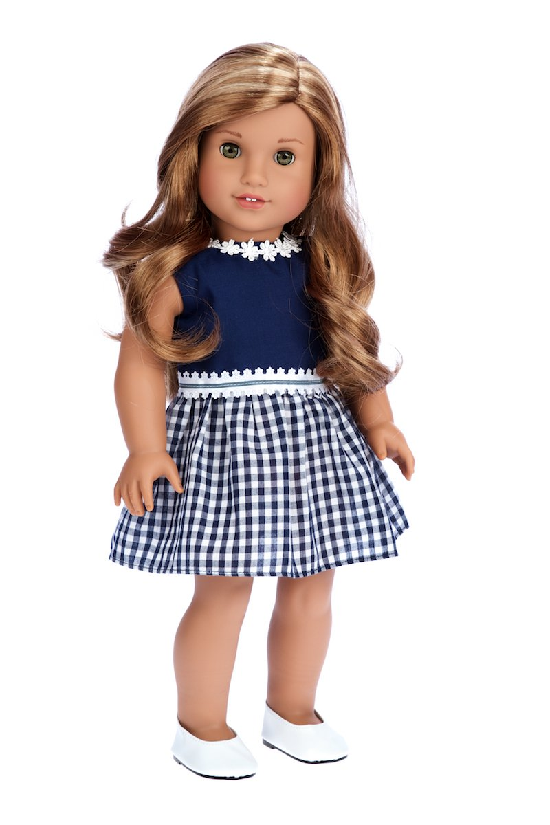 DreamWorld Collections Saturday Afternoon - Navy Blue Dress - Clothes Fits 18 Inch American Girl Doll (Shoes Sold Separately) (Doll Not Included)