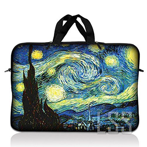 LSS 15.6 inch Laptop Sleeve Bag Compatible with Acer, Asus, Dell, HP, Sony, MacBook and more   Carrying Case Pouch w/ Handle, Starry Night