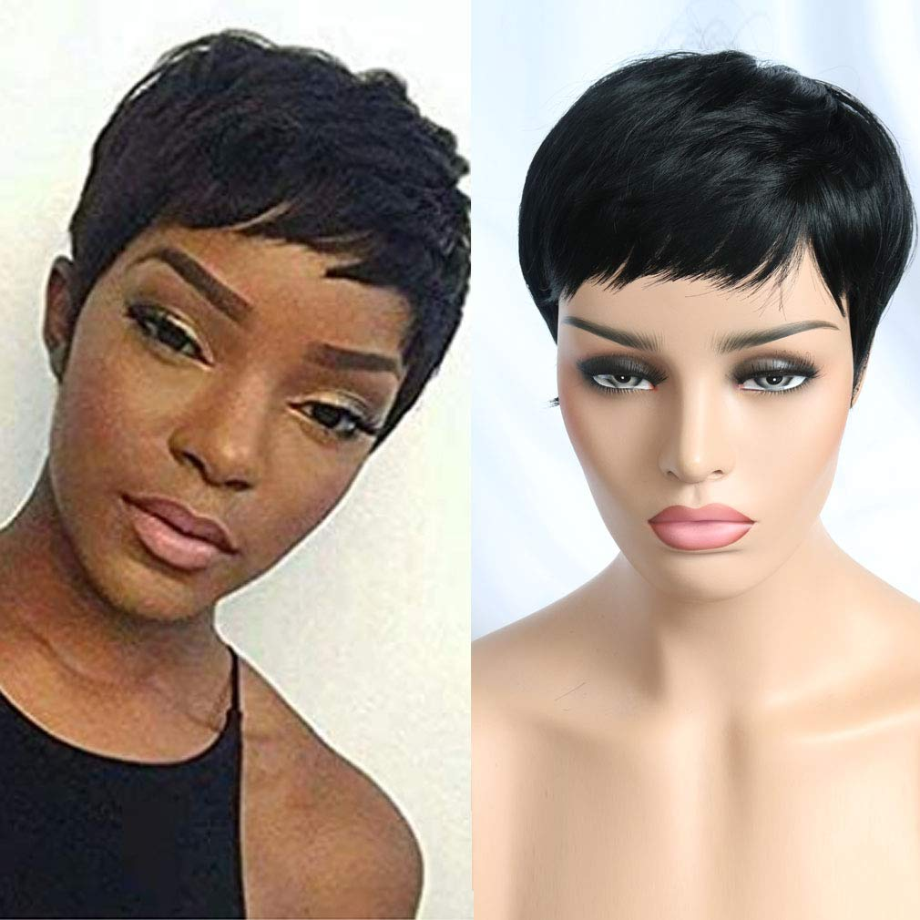 VCK Short Synthetic Hair Wigs Pixie Cut Wig for Black Women 12B Color