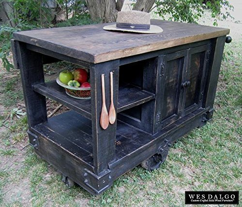 Modern Rustic Kitchen Island Cart with Walnut Stained Top (Distressed Black)