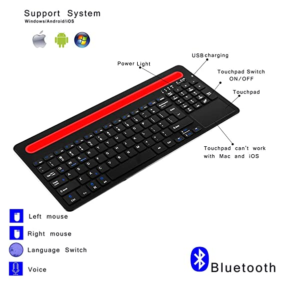 Amazon.com: Alitoo Wireless Bluetooth Keyboard with Touchpad and Rechargeable for iPad Air Mini,Mac,Laptop and Tablets PC Multi-Device(Black): Computers & ...
