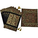 Lalhaveli Living Room Decorative Silk Table Runner Black Color with Matching Placemats