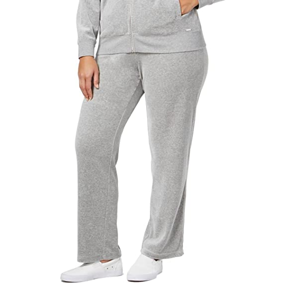 incredible prices official photos buy good Calvin Klein Womens Plus Velour Flat Front Lounge Pants Gray ...