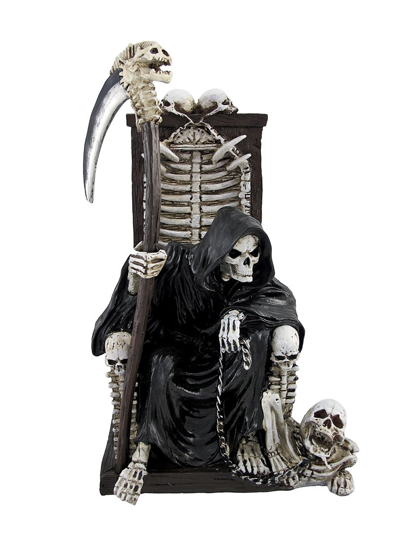 Amazoncom Grim Reaper On Throne With Undead Skeleton Pet Statue By