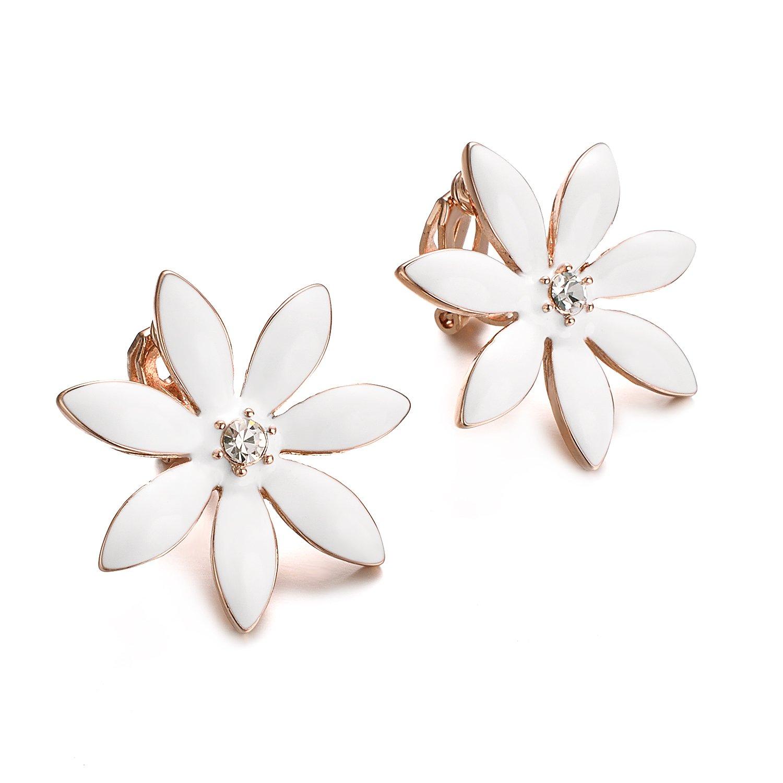 Yoursfs Flower Clip On Earrings for Women Non Pierced Ears Rose Wedding jewelry (White Clip Earrings) … by Yoursfs (Image #5)