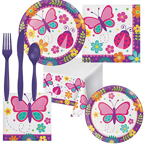 Butterfly Garden Birthday Party Pack Set Serves 16 Children Adults – Luncheon & Dessert Paper Plates, Table Cover, Napkins & Cutlery – Disposable Party Supplies for Food and -