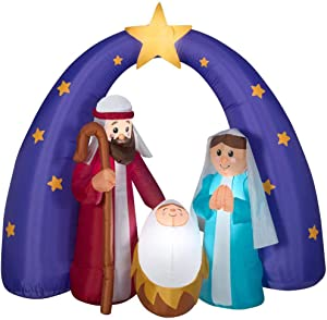 Home Accents Holiday Airblown Nativity Fuzzy Scene 6 ft. Inflatable Pre-lit