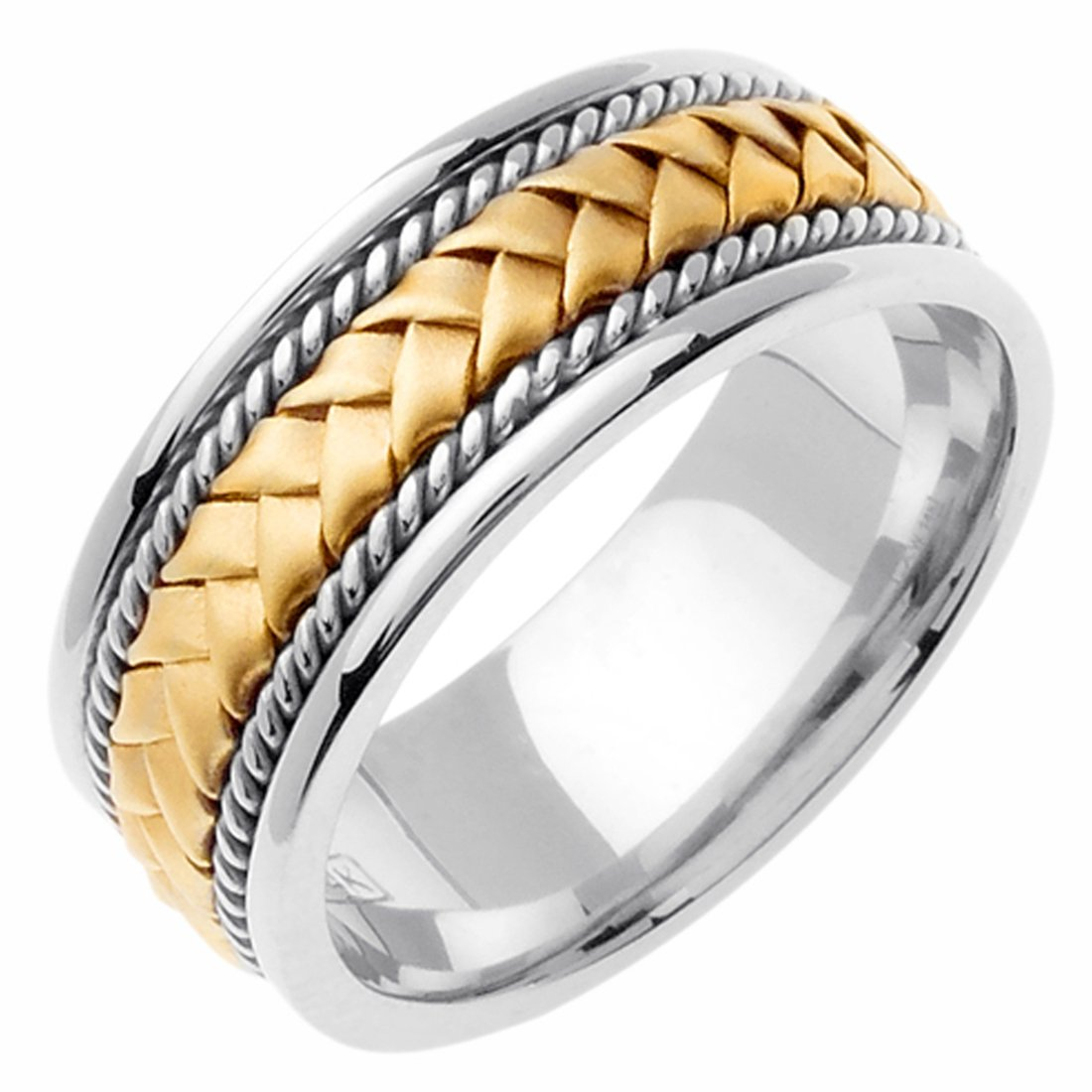 14K Two Tone Gold 8.5mm Braided Rope Wedding Band Promise Ring Comfort Fit
