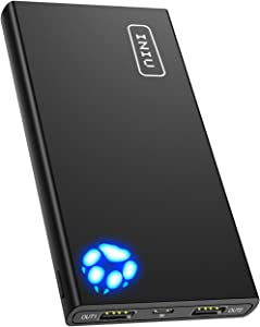 INIU Portable Charger, 10000mAh Power Bank, 4.8A High-Speed 2 USB Ports with Flashlight Battery Pack, Ultra Compact Phone Charger Compatible with Iphone XS X 8 7 6 Samsung Galaxy S9 Note 9 iPad Tablet