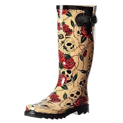 Onlineshoe Damen Regen Stiefel Gummistiefel UK4 - Eu37 - Us6 - Au5 SchÃdel  Und Rose