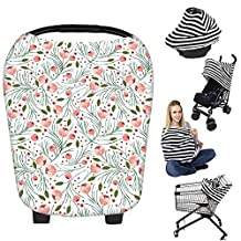 Nursing Breastfeeding Cover Scarf - Baby Car Seat Canopy, Shopping Cart, Stroller, Carseat Covers Best Baby Shower Gift for Girls and Boys - Multi-Use Infinity Stretchy Shawl (Color-22)