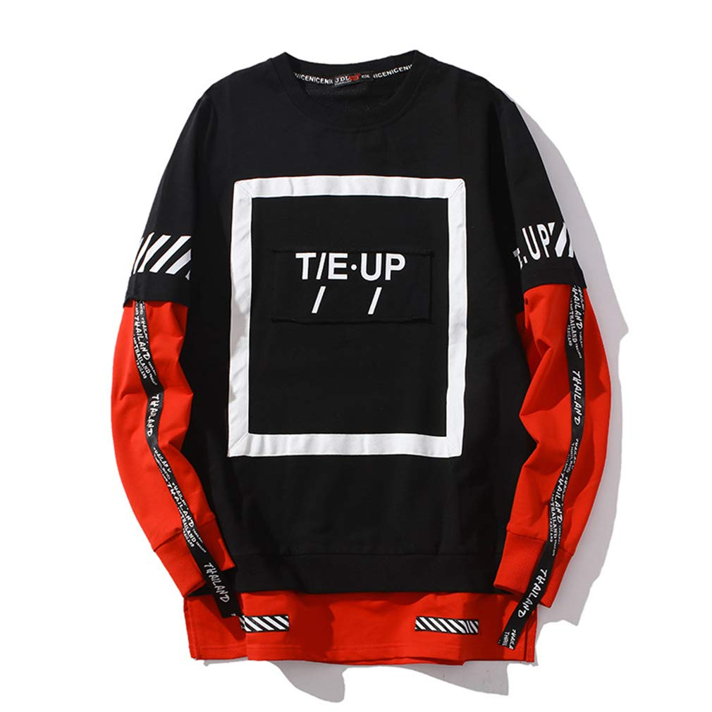 2019 Mens New Loose Casual Fashion Sweater Street Personality Jacket red,XXL